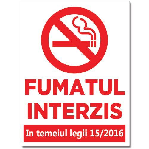 Indicator care interzice fumatul in locuri publice, conform legii 15/2016. Mesajul sau este Fumatul interzis, in temeiul legii 15/2016