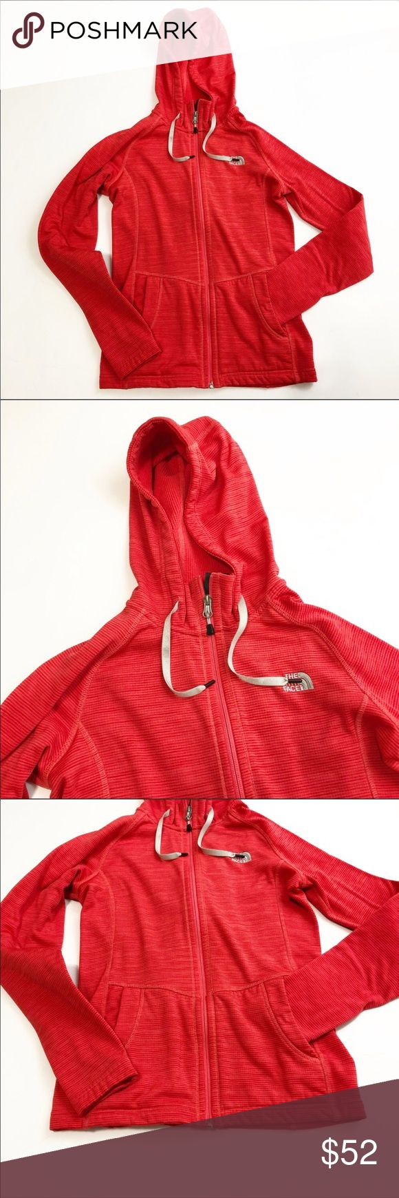 North Face Red Zip Up Hoodie North Face Red Zip Up Hoodie in size extra small (XS). Excellent condition. Features a hood and two pockets. Very cozy! Approximate measurements: length: 23 inches; bust: 16.5 inches. The North Face Tops Sweatshirts & Hoodies