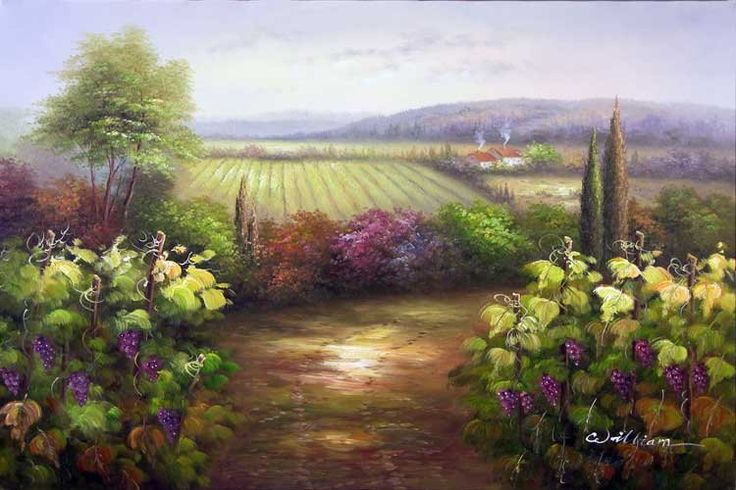 vineyard sketches | French Vineyard Grapevine Valley Landscape Oil Painting(China ...