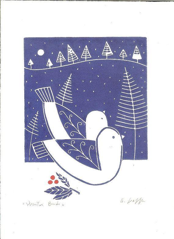 Snow - Love Birds Art Linocut - Original Lino Print,Winter Snow White & Blue Scandinavian Print Style Lino Block Signed