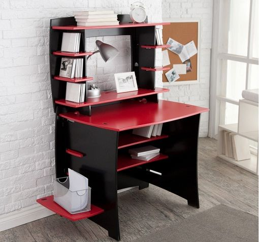 Kids Room Study Table: Study Table For Kids In Red And Black