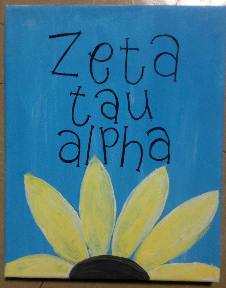Zeta Tau Alpha Sunflower Painted Canvas Made By Me