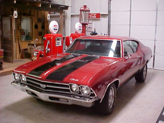 1968 Chevelle SS 396 4speed red with black stripes, just like this one