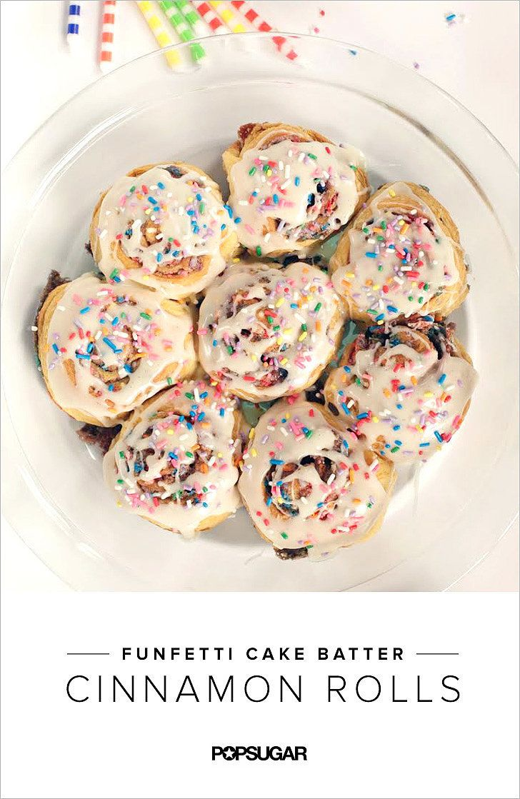 If you thought cinnamon rolls couldn't get any better, think again. Try adding Funfetti flavors. Isn't that more exciting than birthday cake? POPSUGAR will show you how to make this recipe for breakfast with this colorful video.