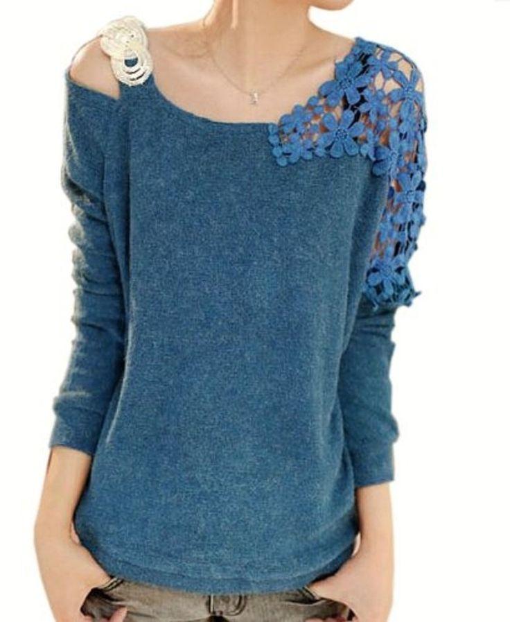Amazon.co.jp: 肩レース 花柄レース ニットプルオーバー オフショルダー セーター (ブルー): 服&ファッション小物通販