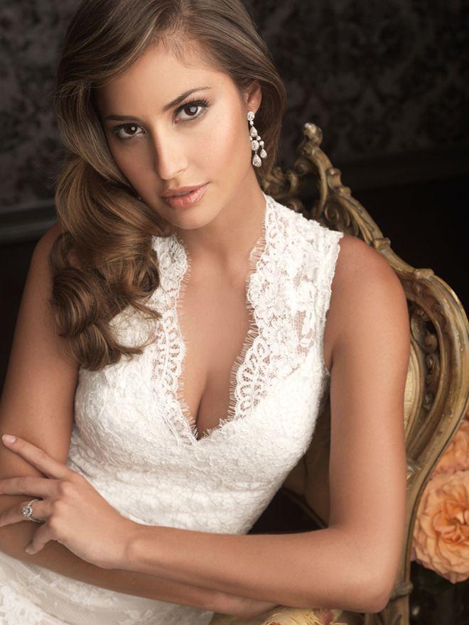 Best Hairstyle For V Neck Wedding Dress : 31 best wedding dresses images on pinterest
