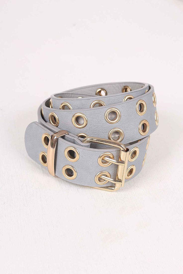 Double Row Eyelet #Belt. Buckle: 100% Alloy Metal. Belt: 100% Polyurethane. Price: $18.41