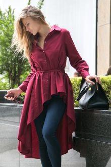 Рубашка длинная с асимметричным низом и пояском, бордовая Fashion Confession
