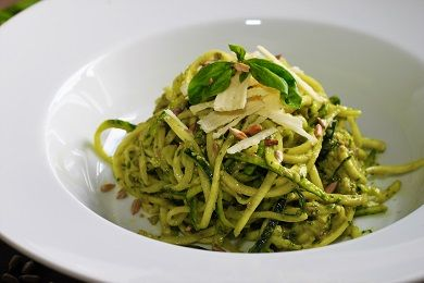 Cuketové špagety s bazalkovým pestem a parmazánem /Zucchini spaghetti with basil pesto and parmesan/ Zdravé, nízkosacharidové, bezlepkové recepty. (Healthy, low carb, gluten free recipes.)