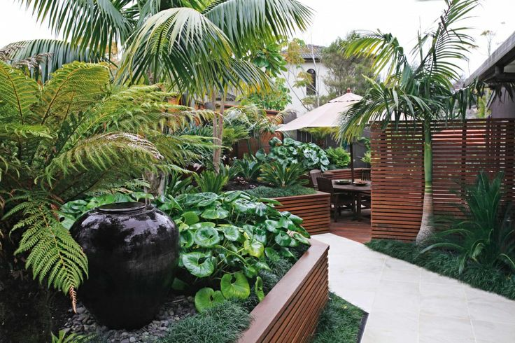 Oasis To Order, horizontal picket for raised garden bed, tropical plants