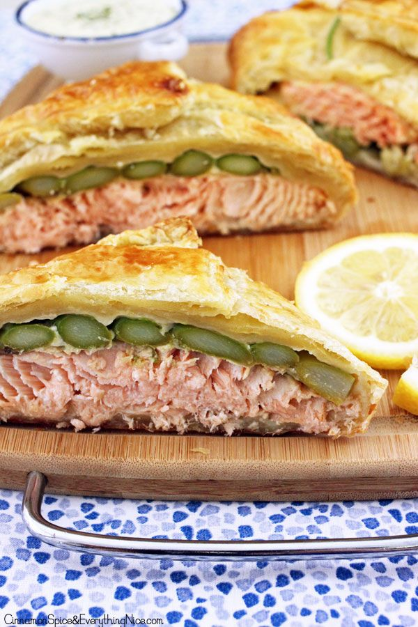 Salmon en Croûte with Lemon Dill Sauce. This is a classic French dish with salmon tucked inside puff pastry and baked.