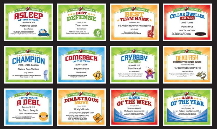 Fantasy Football Certificates Templates — Better than trophies and belts - use them year after year to recognize the champ and the chumps.