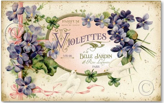 Victorian Style Violets and Doves Perfume Label Plaque - from Fairy Freckles. (not sure if I love the pictures more than I love the name - or vice versa!)