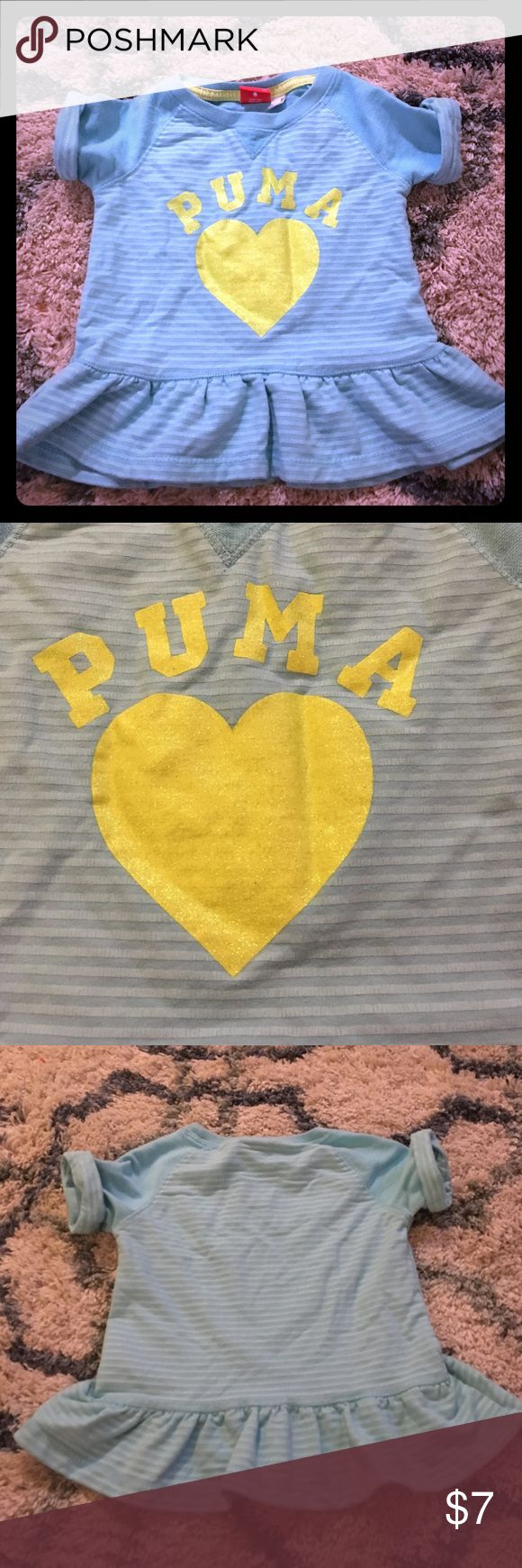 Puma shirt sleeve sweater top Adorable bright green and blue sparkly sweater like top Puma Shirts & Tops Sweaters