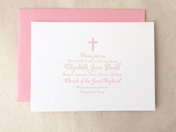 Letterpress Baptism Invitations 25 flat cards by DinglewoodDesign