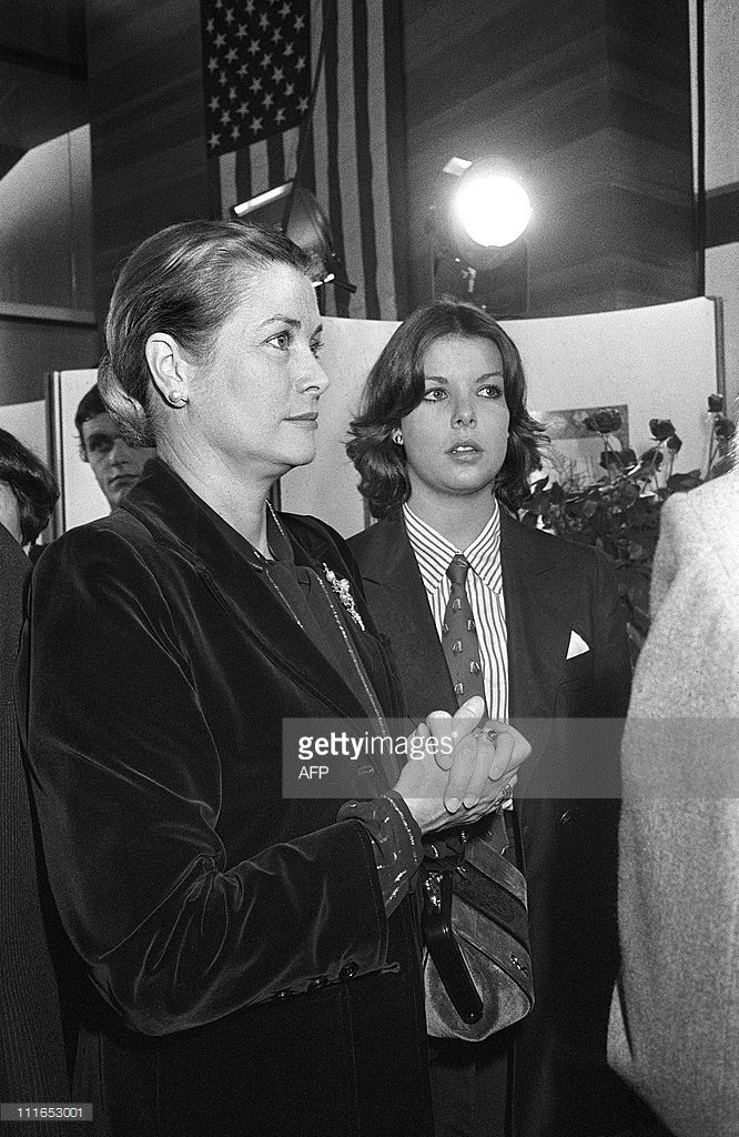Princess Caroline of Monaco (R) and Princess Grace of Monaco gather 02 November 1976 in Radio-France building during the US presidential election night. The US presidential election of 1976 followed the resignation of President Richard M. Nixon in the wake of the Watergate scandal. It pitted incumbent President Gerald Ford against the relatively unknown former governor of Georgia, Jimmy Carter who won the election.