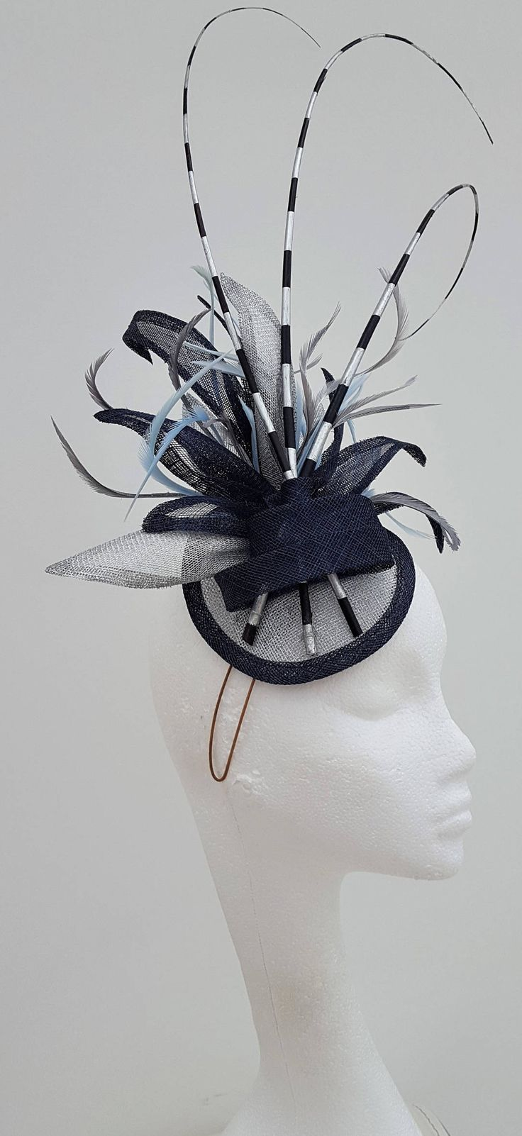 805562ff54ba3 Navy Blue Silver Cocktail Hat Fascinator Headpiece. Mother of the bride