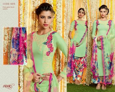 Amazing Pista Green Pure Soft Cotton Satin Patiala Salwar Kameez366