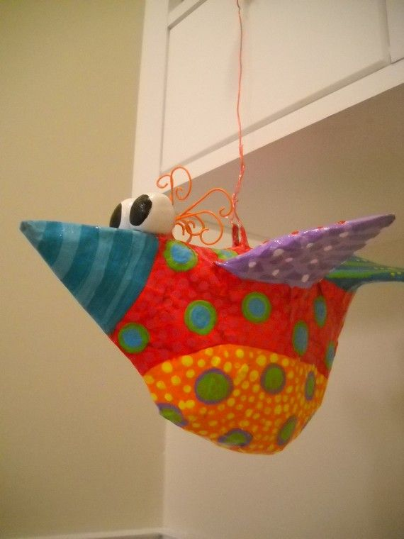 Paper Mache Whimsical Bird Sculpture van SummerHouseGal op Etsy