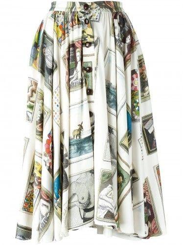 Olympia Le-Tan Olympia Le-Tan x Galerie Perrotin printed flared skirt