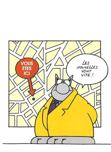 Le Chat de Philippe Geluck.  ''Vous êtes ici...''