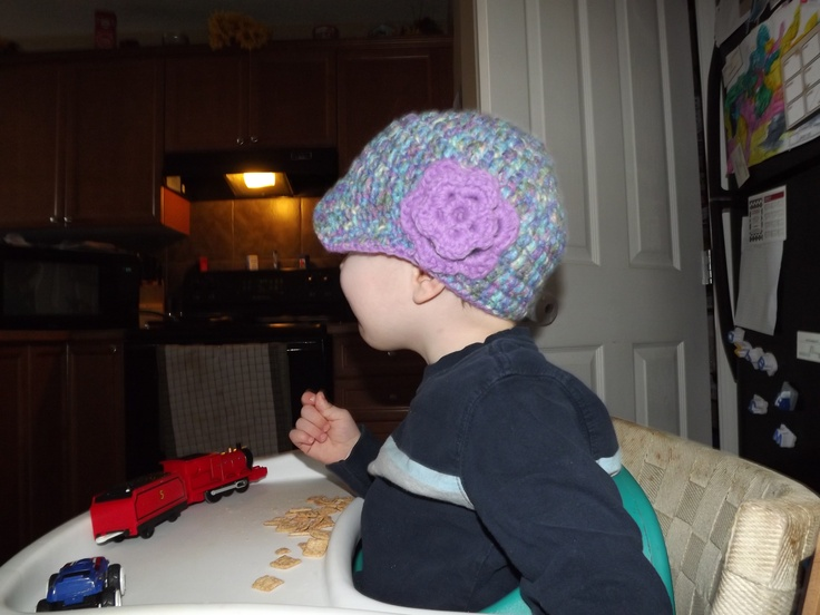"""My 2 yr old son being a good sport modeling one of my """"News boy Caps""""!!"""