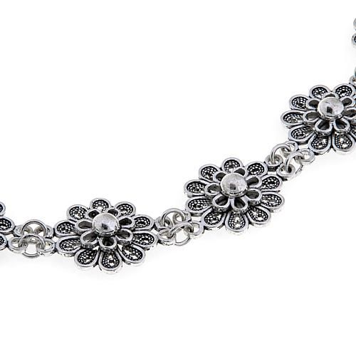 "Ottoman Silver Collection Ottoman Silver Jewelry Collection Sterling Silver Floral 11-1/4"" Choker-Necklace"