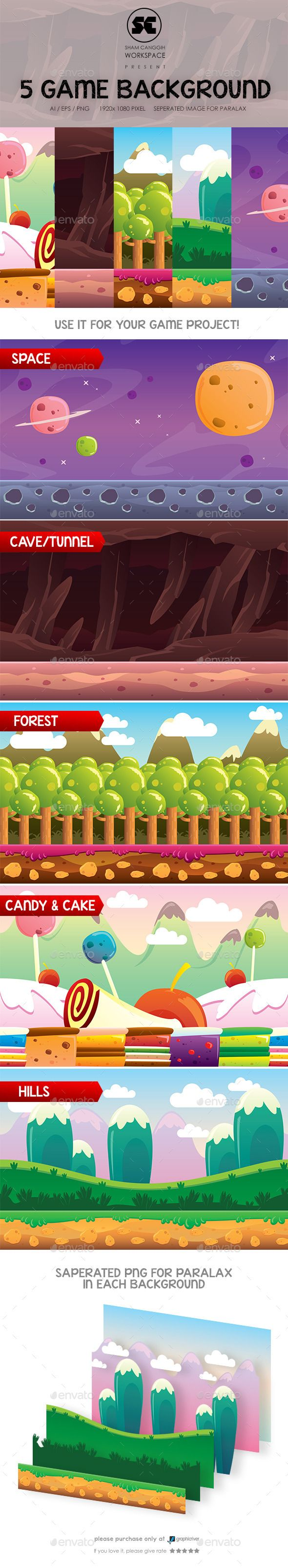 5 in 1 Game Background — Photoshop PSD #cartoon #image • Available here → https://graphicriver.net/item/5-in-1-game-background/10259065?ref=pxcr