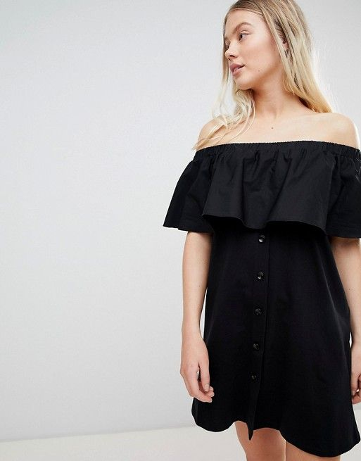 e05a81ab290 Pull&Bear off the shoulder bardot dress in black | Need to get in ma  shoppin' bag. | Bardot dress, Dresses, Off the shoulder
