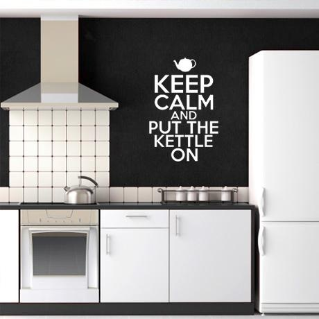 Keep Calm & Put The Kettle On Wall Decal - White from Winter Mystic Decals - R149 (Save 40%)