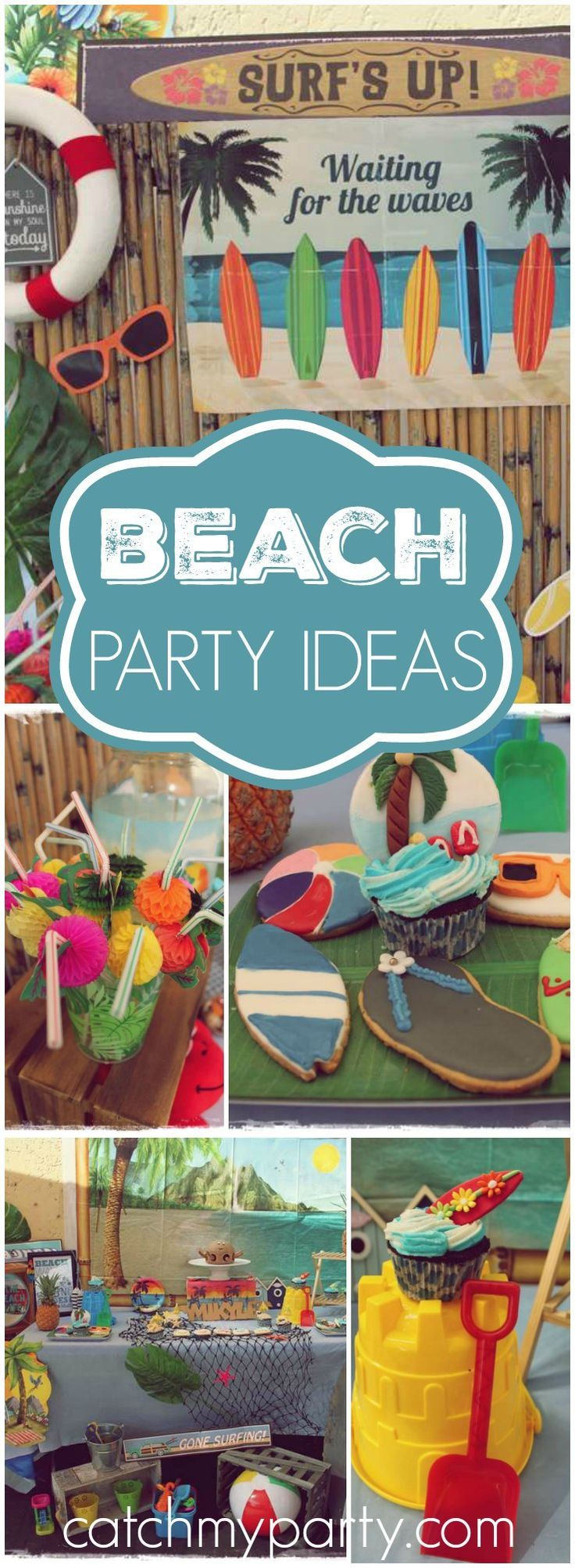 """Check out this fun """"Surf's Up"""" beach party! See more party ideas at CatchMyParty.com!"""