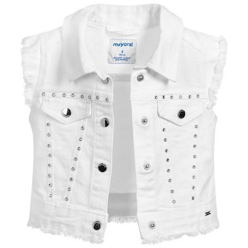 Girls white denim gilet jacket by Mayoral, with a touch of elastane for a good fit. Studded with crystals for sparkle, and intentionally frayed for a cool look, it also has popper fastenings and decorative pockets.