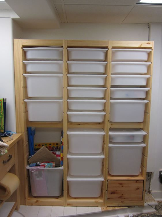 """new workshop storage.  plastic """"drawers"""" trays at Ikea...Me: Hmmmm great idea for the workshop but ALSO for my BEADING / DESIGN ROOM (of course I would make it more attractive for in there! ;)"""