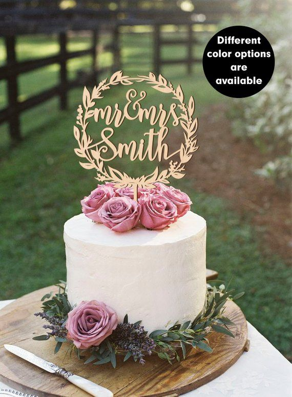 Wooden Cake Topper Wreath Surname Cake Topper Gold Personalized