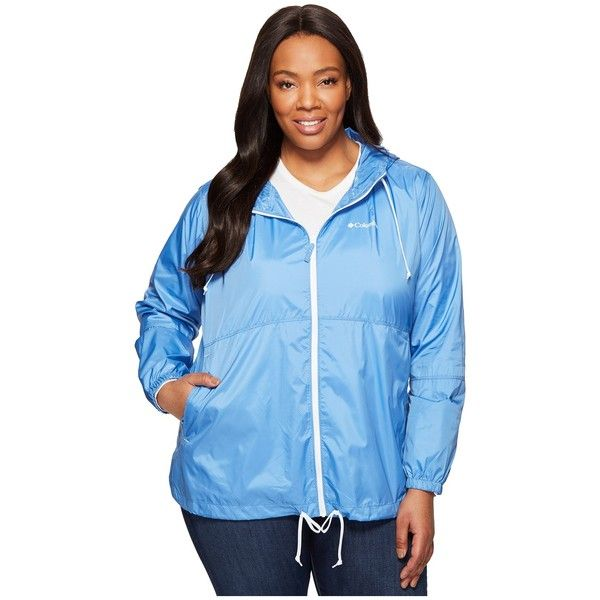 Columbia Plus Size Flash Forward Windbreaker (Medieval/White) Women's... ($50) ❤ liked on Polyvore featuring plus size women's fashion, plus size clothing, plus size activewear, plus size activewear jackets, columbia sportswear, plus size sportswear, colu