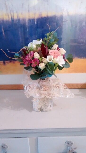 Cappuccino and spray roses, leucodendron, eucalyptus, twisted willow