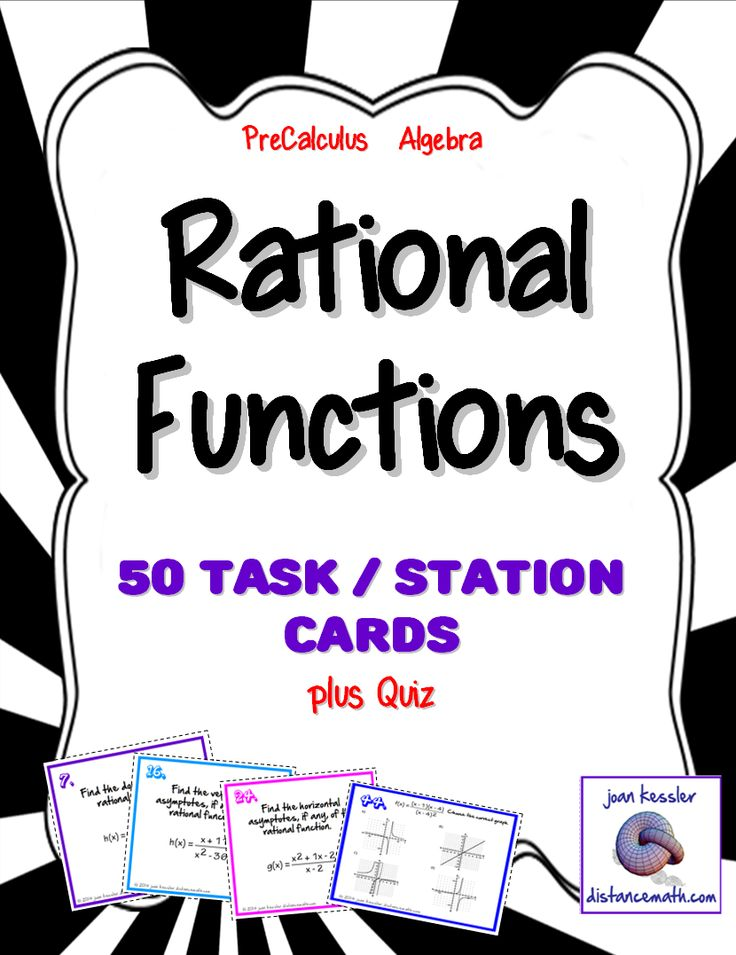Rational Functions-This innovative activity is designed for PreCalculus or Algebra 2. It is a comprehensive overview of the entire section on rational functions. The cards can be used topic by topic or as a review of the section. * There are 50 cards which are color coded by similar problems.  Find the Domain, Find the Horizontal Asymptotes, Find the Vertical Asymptotes, Find the x and y -intercepts   Choose the correct graph, Determine the equation of the oblique asymptote, Choose the…