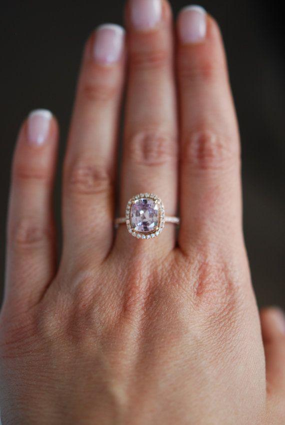 Peach Sapphire Ring 14k Rose Gold Diamond by EidelPrecious on Etsy