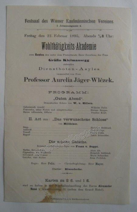 Das Verwunschene Schloss - Die schone Galathee - Vienna Playbill 1895