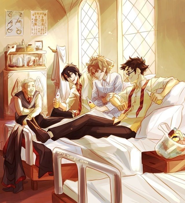 James, Sirius and Pettigrew hangin out with recovering Remus in the hospital wing after the full moon