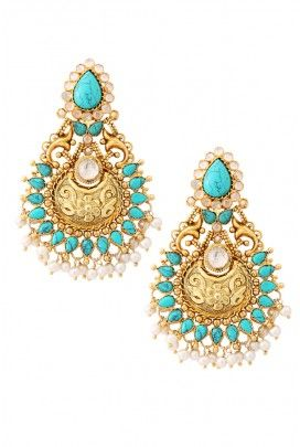 Silver Turquoise and Gold Evening Earrings by Amrapali