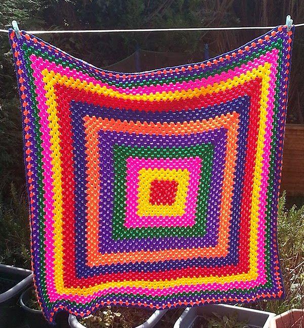 Giant Rainbow Granny Square Blanket