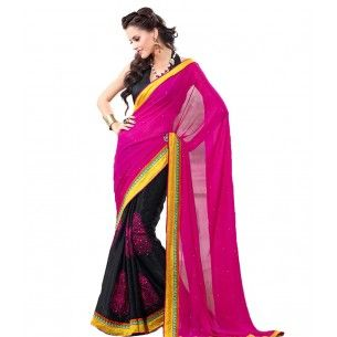 #Designer Suit #Party Wear Saree Shop now : http://www.valehri.com/fab-georgette-crepe-half-and-half-saree-1583