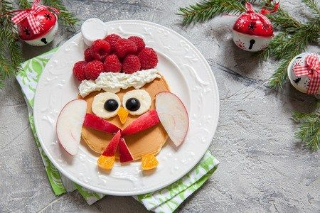 christmas owl pancake for funny kids breakfast