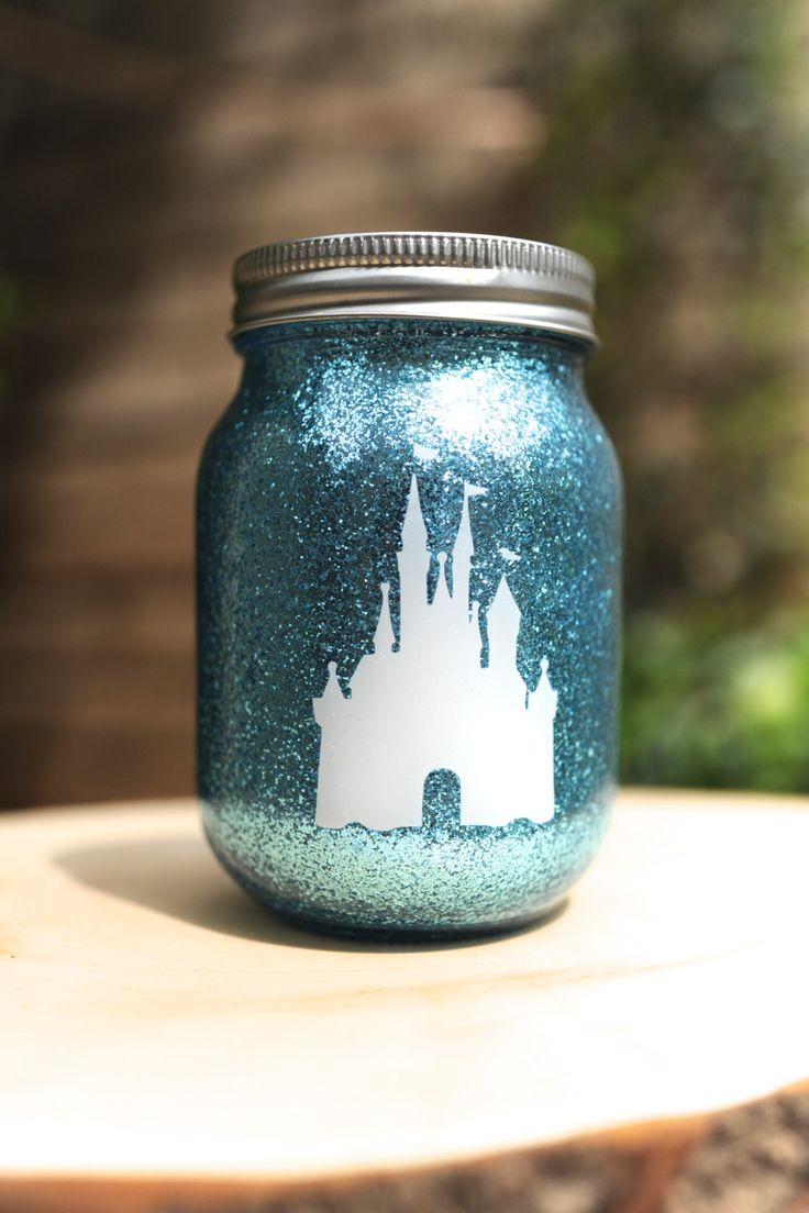 Tinted Glitter Mason Jar    Disney Princess by FireflyAtelier, $7.50 Could also do with a vase