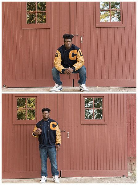 Cathedral High School, Indianapolis; Senior Guy Session, with varsity letterman jacket and football