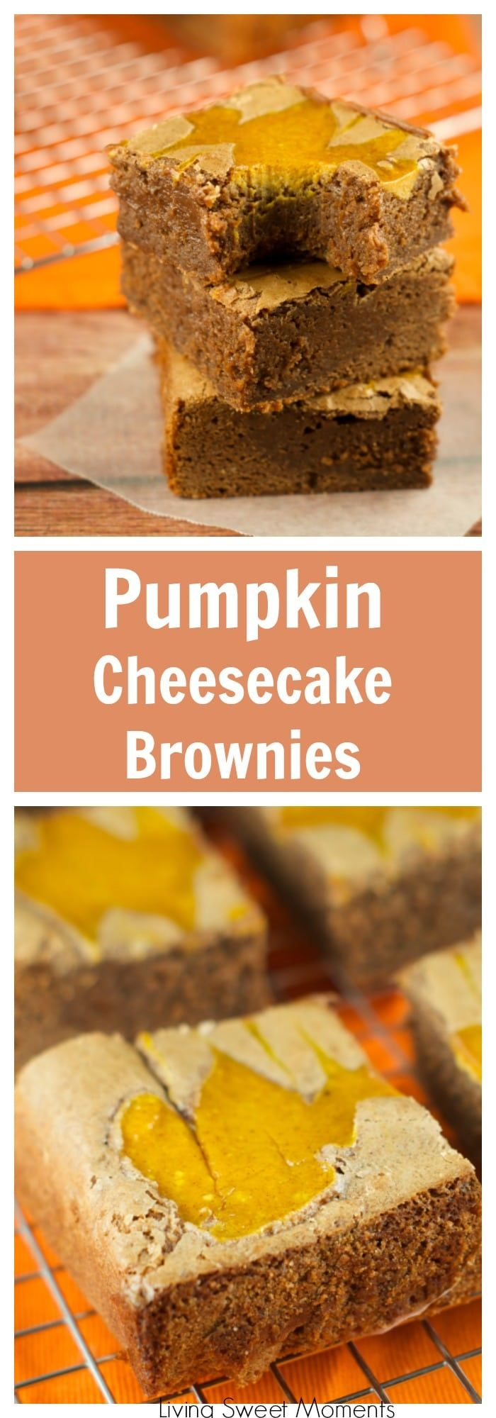 Pumpkin Cheesecake Brownies: this easy and delicious recipe is perfect for fall and winter. Brownies and fudgy with a creamy spiced pumpkin cheesecake top