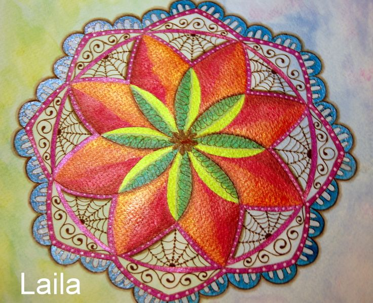 Mandala. Twinks and water colors.