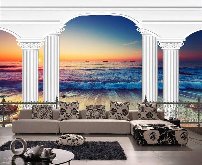 Papier peint 3d paysage romantique tapisserie numérique sur mesure la mer
