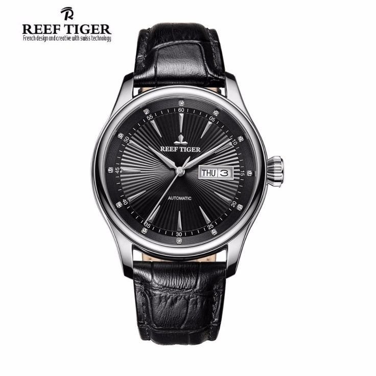 180.12$  Buy here - http://aifmg.worlditems.win/all/product.php?id=32805809004 - 2017 Reef Tiger/RT Mens Dress Watch with Date Day Automatic 316L Steel Calfskin Strap Watches RGA8232